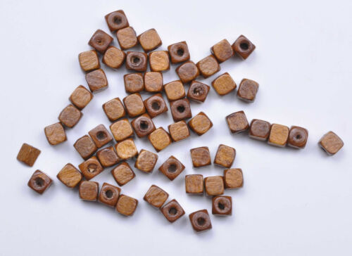 wholesale Charms Square Cube Wood Spacer Beads Jewelry Making 6x6MM