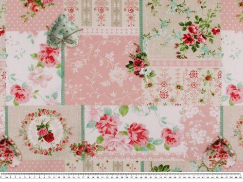 Blumen-Patch Dig.-Druck Dekostoff weiß-multicolour 140cm