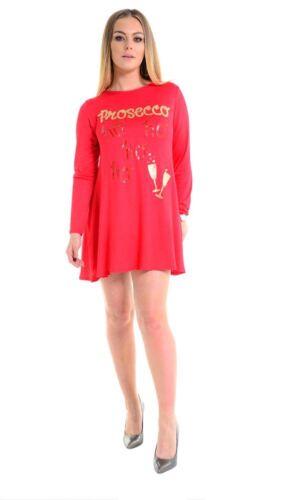 Womens Prosecco Ho Ho Ho Glitter Print Ladies Christmas Swing Dress Top UK 8-22