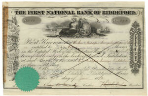 First National Bank of Skowhegan Maine Stock Certificate