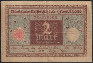GERMANY-BANK-NOTE-1920-2-MK-BROWN-amp-GREEN-FOLDED-NO-TEAR-NO-HOLE-10CMX6-6CM