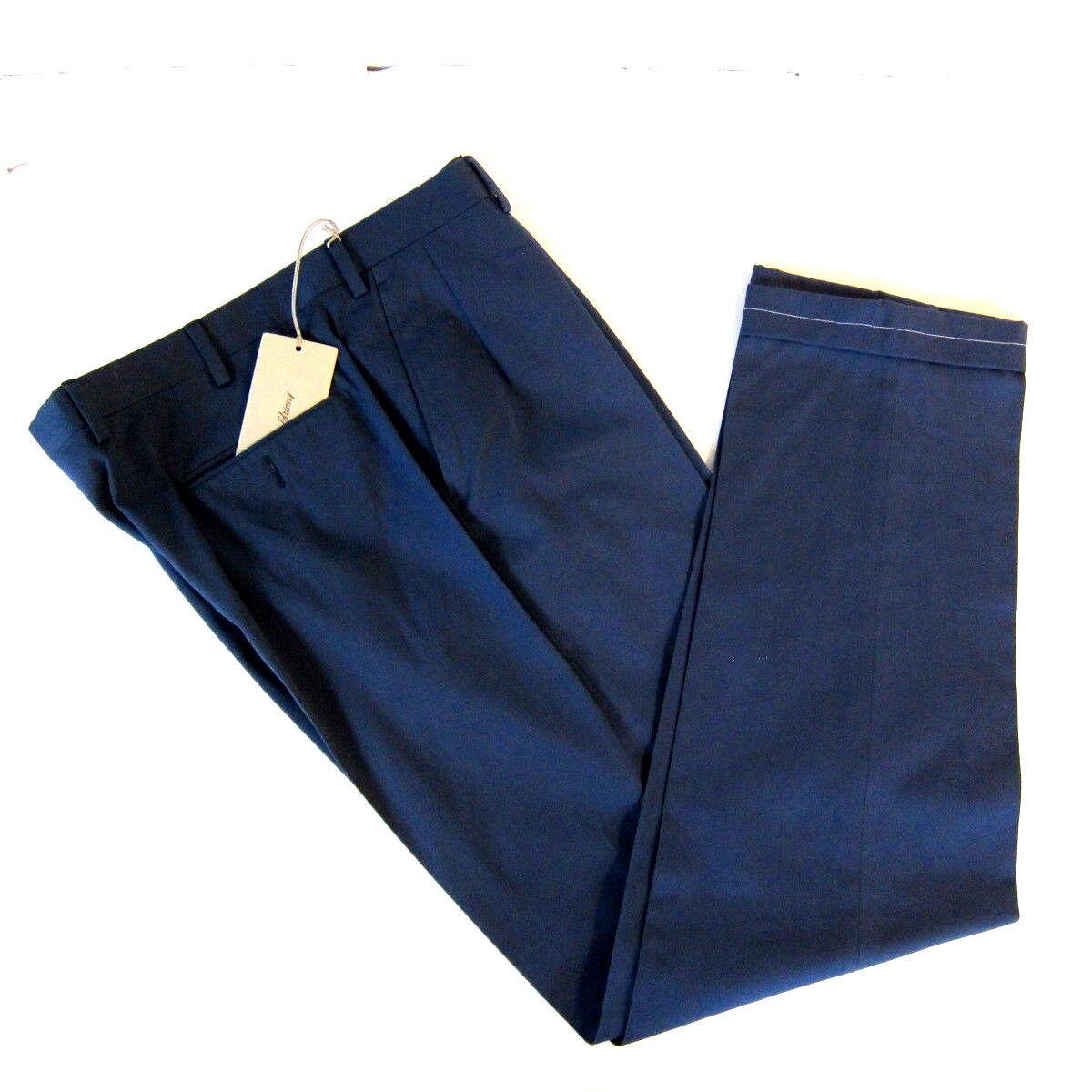 J-2631983 Nuovo Brioni Blu Piani Anteriori Tasche Laterali Pantaloni Taglia 50