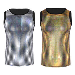 Mens-Shiny-Metallic-Sleeveless-Pullover-Muscle-Vest-Tank-Tops-Nightclub-Shirts