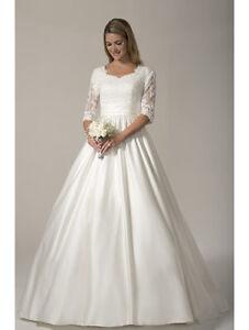 Image Is Loading White Ivory 3 4 Sleeve Modest Wedding Dress