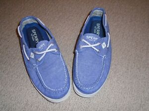 Mens-Sperry-Top-Sider-blue-chambray-cotton-classic-boat-deck-shoe-NWOT-Size-8
