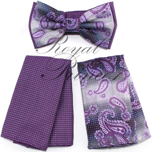 Two Tone Design Paisley Men Purple Lilac Bowtie and Hankie Set Wedding BT2T102B