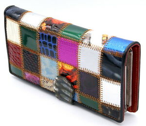 347a2046e8af0 Das Bild wird geladen Portemonnaie-Damen -Geldboerse-Hochglanz-lang-XL-Patchwork-bunte-