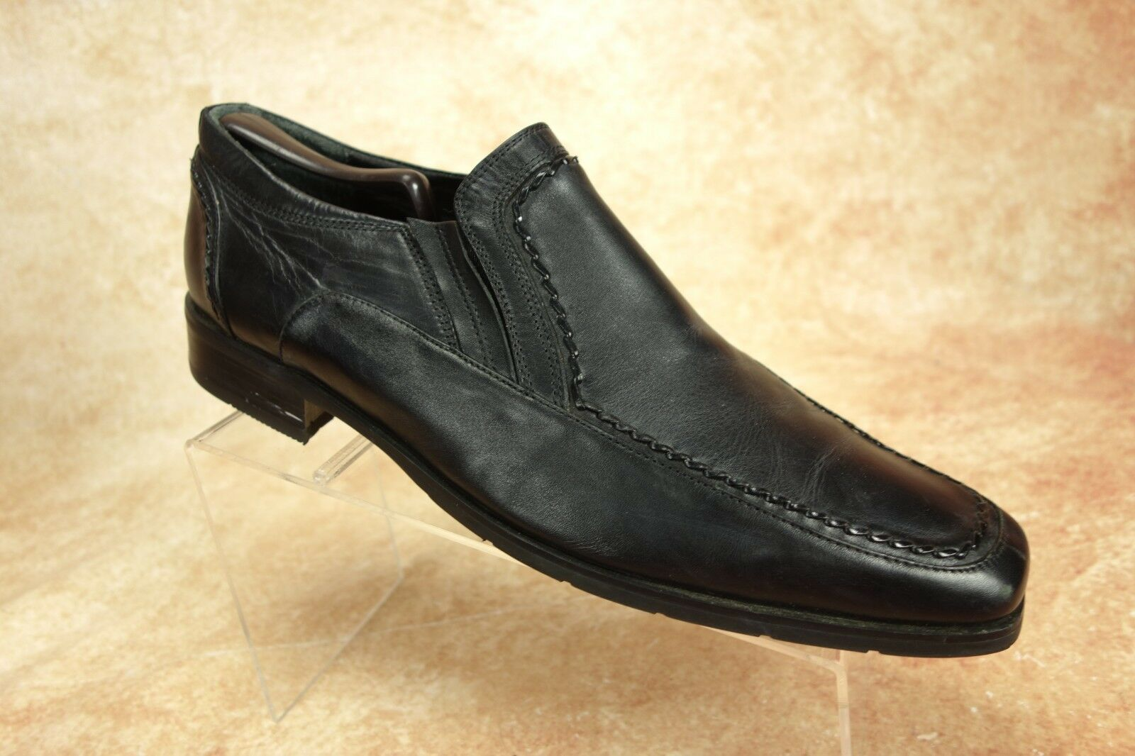 Bed Stu Black Leather Moc Toe Slip On Casual Loafers shoes Mens Size 11 US