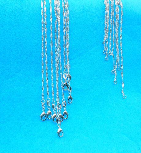 """1PCS Jewelry Findings /""""Water Wave/"""" 925 Plaqué Argent Collier Chaîne Pour Pendentif"""