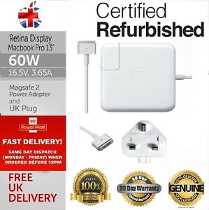 """Genuine Refurbished Apple 60W Macbook Pro 13"""" MagSafe 2 Charger A1502 A1435"""