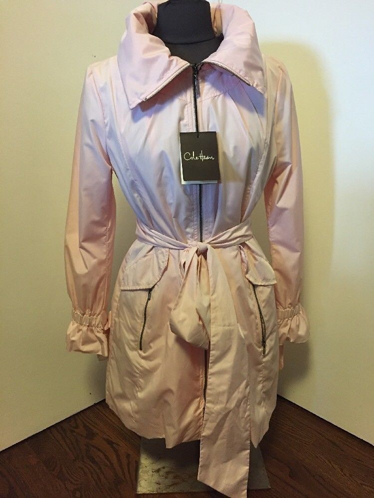 New Cole Haan Belted Hooded Rain Coat Pink