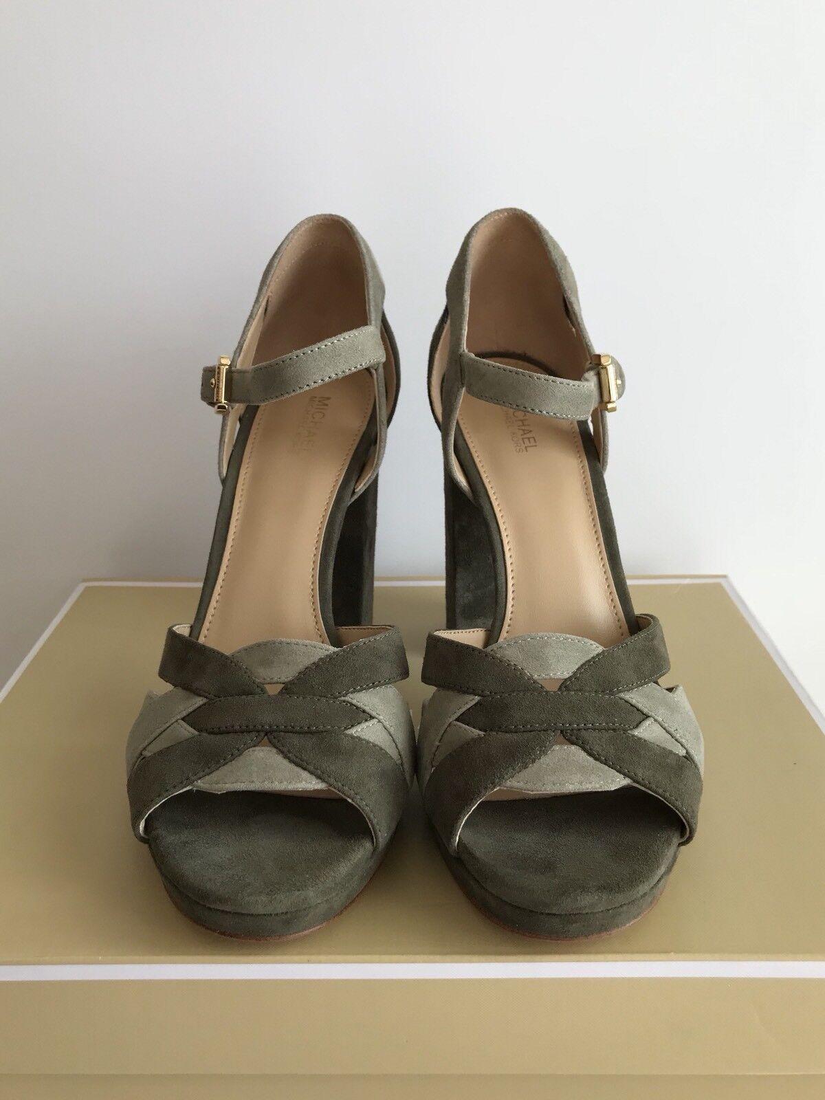 855fe814f5f5 Michael Kors Annaliese Platform High Heel Suede Olive Sage Sandal 9 ...