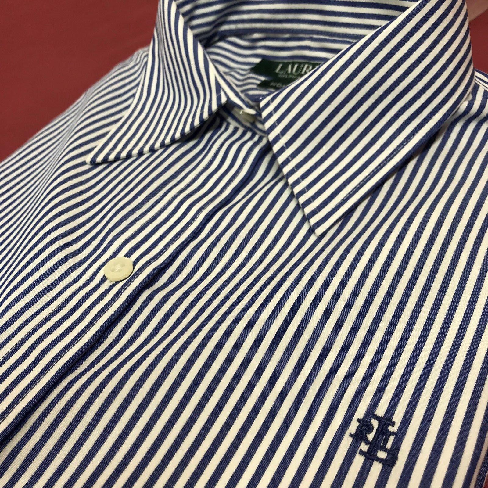 Lauren Ralph Lauren womens Shirt RLL L S Non Iron white bluee stripe S