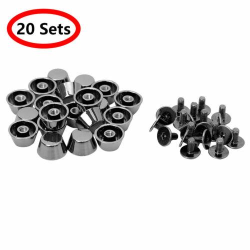 20 Sets/_Purse Handbag Feet Nail Studs Flat Buckle Cap Rivets for Leather Craft