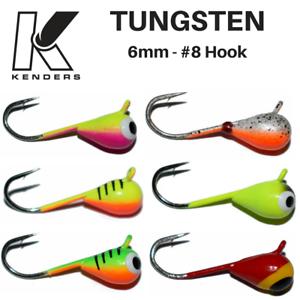 Tungsten Jig 6 Pack 6mm #8 Hook Firetiger Bright UV