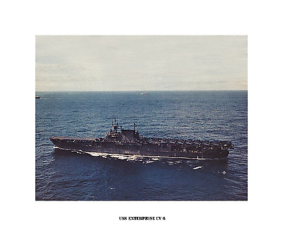 USS ENTERPRISE CV 6  Naval Ship Photo Print USN Navy