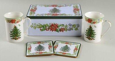 Spode Christmas Tree 5 Piece Tin Gift Set Tin 2 Ceramic Mugs 2