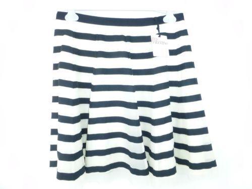 Rouge Valentino Femmes Jupe Taille De 38 40 Élégant Soie Bande Bleu Blanc Np 559