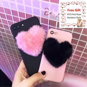 7df1327cf7 3D Love Heart case for iPhone 5 5s 6 6S 7 8 Plus X Rabbit Fur plush ...