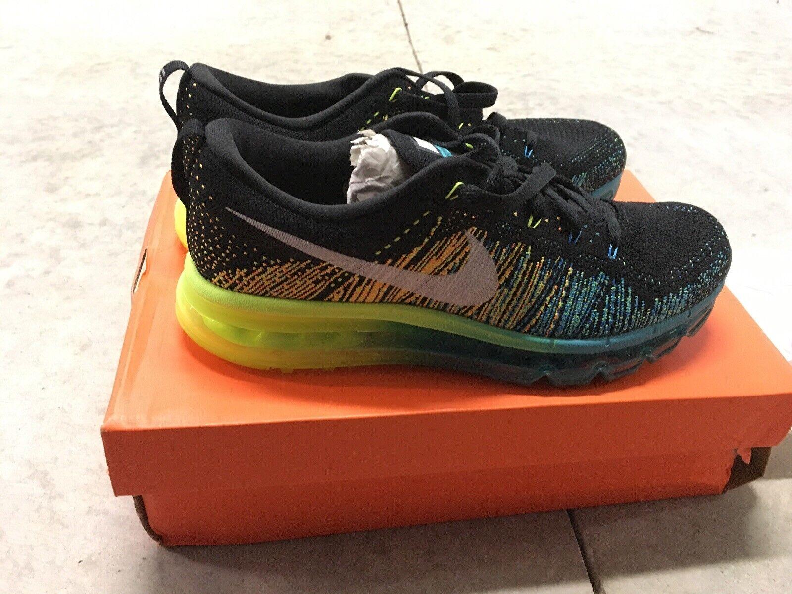 Nike Flyknit Max men's Running Shoe Black/Teal/neon yellow 620469 001 NIB Sz 8