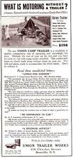 Vintage ad 1923 Union Camping Trailer Tent Cool photo Family Camping