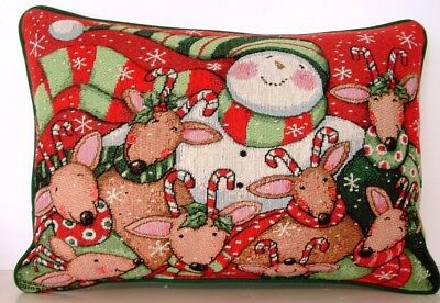 Snowman w// Deer Friends Christmas Scarfs By Susan Wignet Tapestry Pillow New