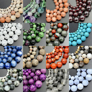 4mm-6mm-8mm-10mm-Wholesale-Lot-Natural-Stone-Gemstone-Round-Loose-Beads-15-5-034