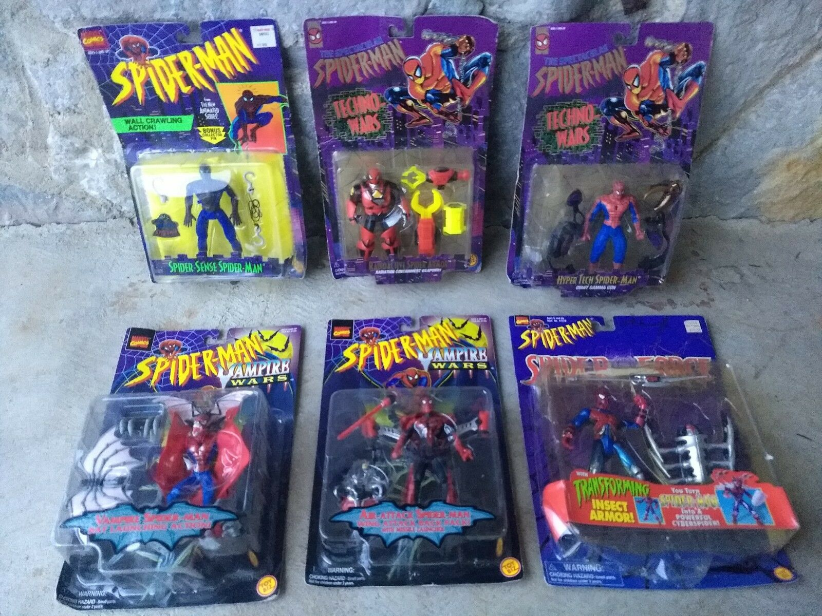 ToyBiz Marvel Spiderman Techno Vampire 6 Action Figures Lot Bundle NIB