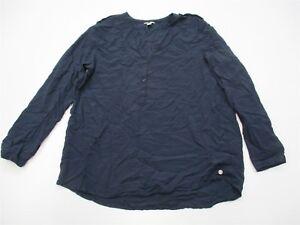 E-SPIRIT-K754-Women-039-s-Size-12-Long-Sleeve-Casual-V-Neck-Henley-Navy-Blue-Shirt
