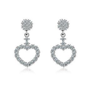 Women-039-s-Sweet-Elegant-925-Sterling-Silver-Zircon-Heart-Ear-Stud-Dangle-Earrings