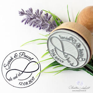 personalisierter stempel hochzeit logo unendlich mit namen. Black Bedroom Furniture Sets. Home Design Ideas