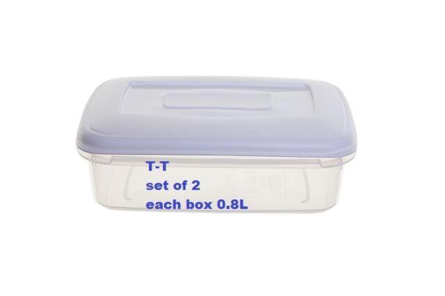 Whitefurze Rectangular Plastic Food Saver Storer Storage Box Container Freezer