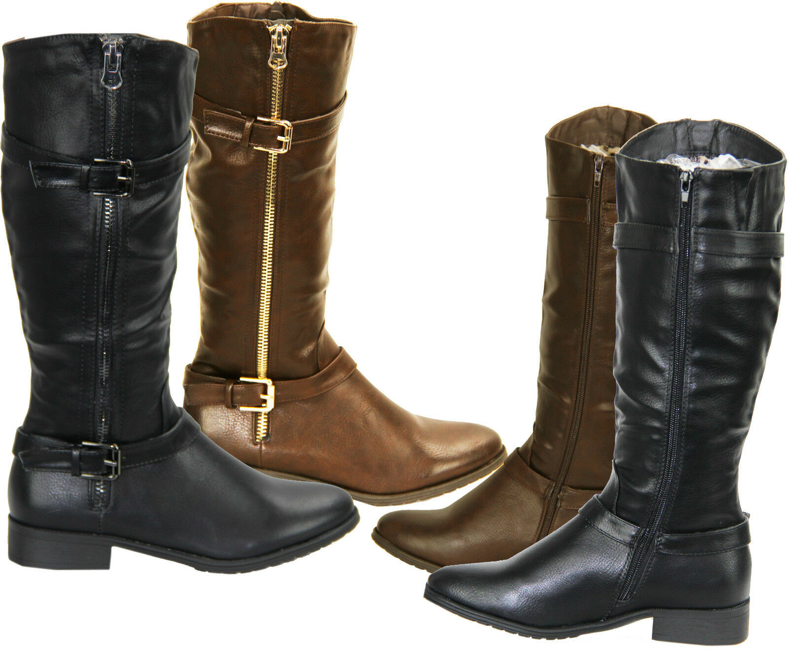 RJ03 NEW UNDER Mujer LADIES MID CALF UNDER NEW KNEE BIKER WINTER RIDING ZIP UP botas Zapatos 3be266