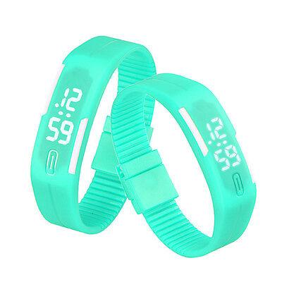 Mens Womens Rubber LED Watch Digital Date Sports Casual Bracelet Wrist Watches