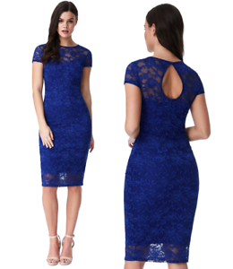 Goddess of London bluee Lace Short Sleeve Wiggle Knee Length Evening Party Dress