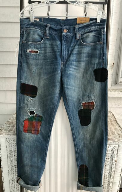 8b91c841b6b90 NWT NEW POLO RALPH LAUREN ASTOR SLIM FIT BOYFRIEND JEANS 28 REPAIRED PATCHES