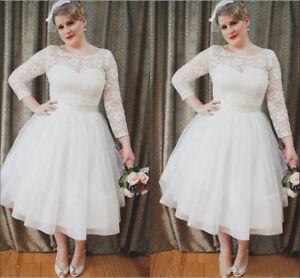 Details About Simple Plus Size Transparent Lace Long Sleeves Tea Length Woman Wedding Dresses