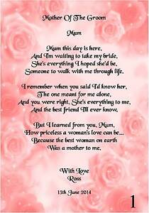 Wedding Day Thank You Gift Mother Of The Groom Poem A4 Photo