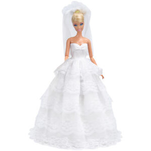 White Wedding Dress 11.5 Barbie Princess Long Gown Doll Clothes Fashion Outfit