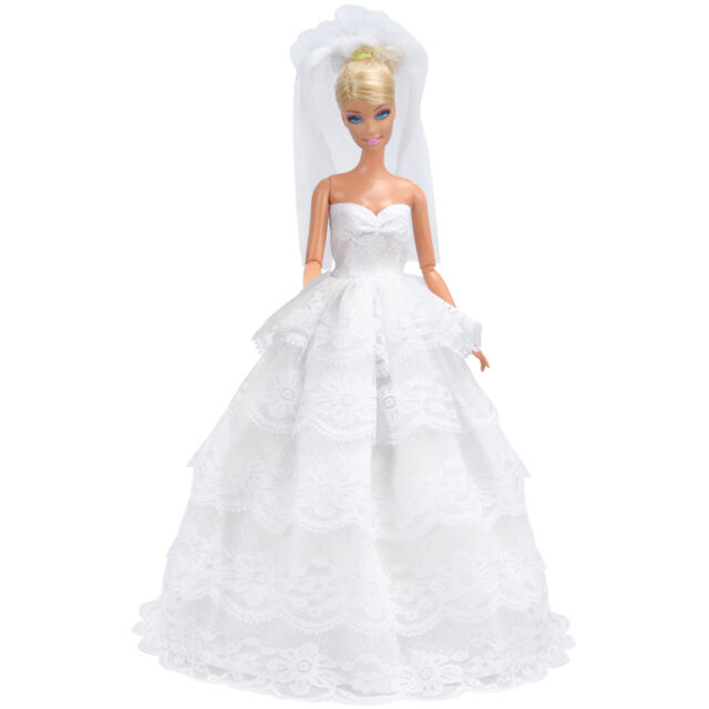 E-TING White Princess Gown Wedding Dress Party Clothes Outfit 11.5 inch doll A