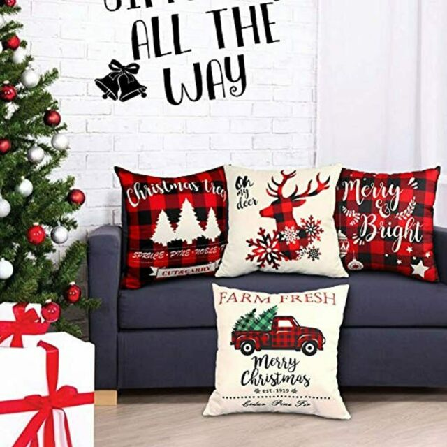 Christmas Throw Pillow Covers 18x18 Set of 4 Red and Black Buffalo Plaid Check