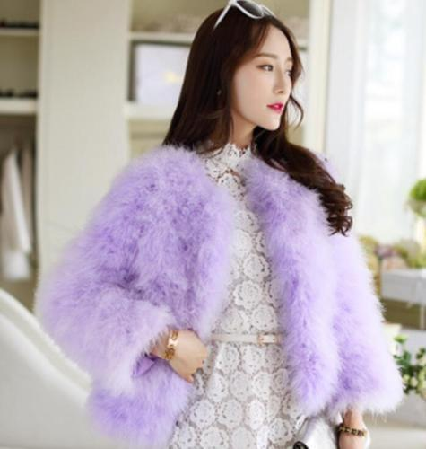 Women Real Fur Coat Genuine Ostrich Feather Fur Winter Jacket Top Quality