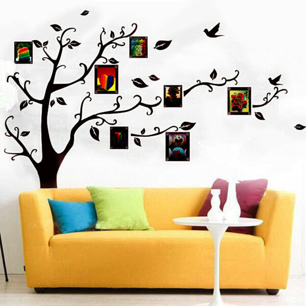 Black Family Tree Photo Frame Wall Sticker Style Home Decor Decal Removable DIY