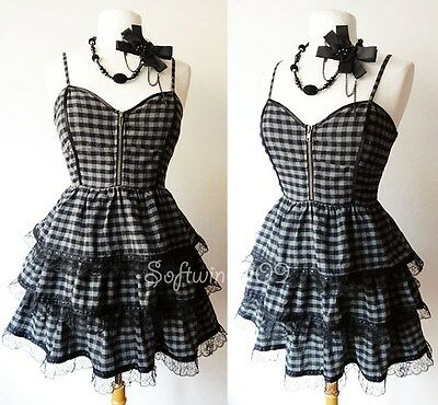 NEW Black/Grey Plaids Checker PUNK ROCK Bustier GOTH Lace Tiered Ruffle Dress