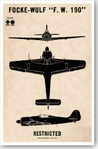 WWII German Focke-Wulf Fw 190 Fighter Aircraft Recognition Poster V-1