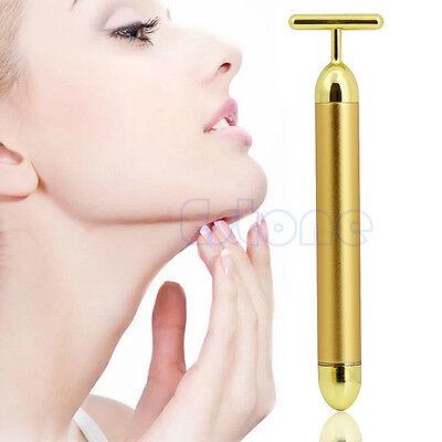 24K Golden Pulse Beauty Bar Waterproof T Shape Facial Roller Massager Skin Care