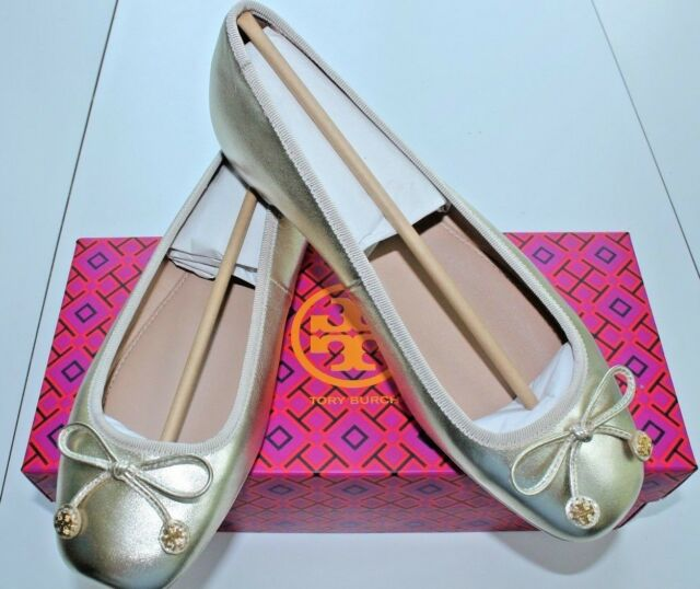 3ca2040ae NIB Authentic TORY BURCH Laila Metallic Driver Ballet Flat in Spark Gold Sz  8.5