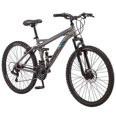26 in Mongoose Men's Dual Suspension Mountain Bike Cache, Matte Grey