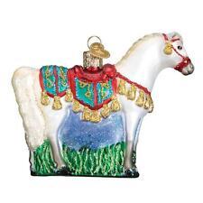 WHITE ARABIAN HORSE OLD WORLD CHRISTMAS GLASS EQUESTRIAN ORNAMENT NWT 12507