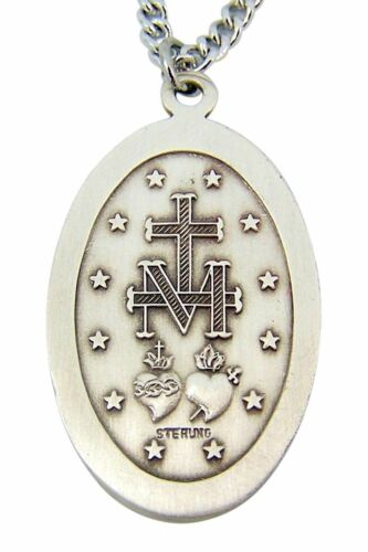1 1//2 Pouces Sterling Silver ovale espagnol Oh Maria Miraculeuse Médaille Pendentif